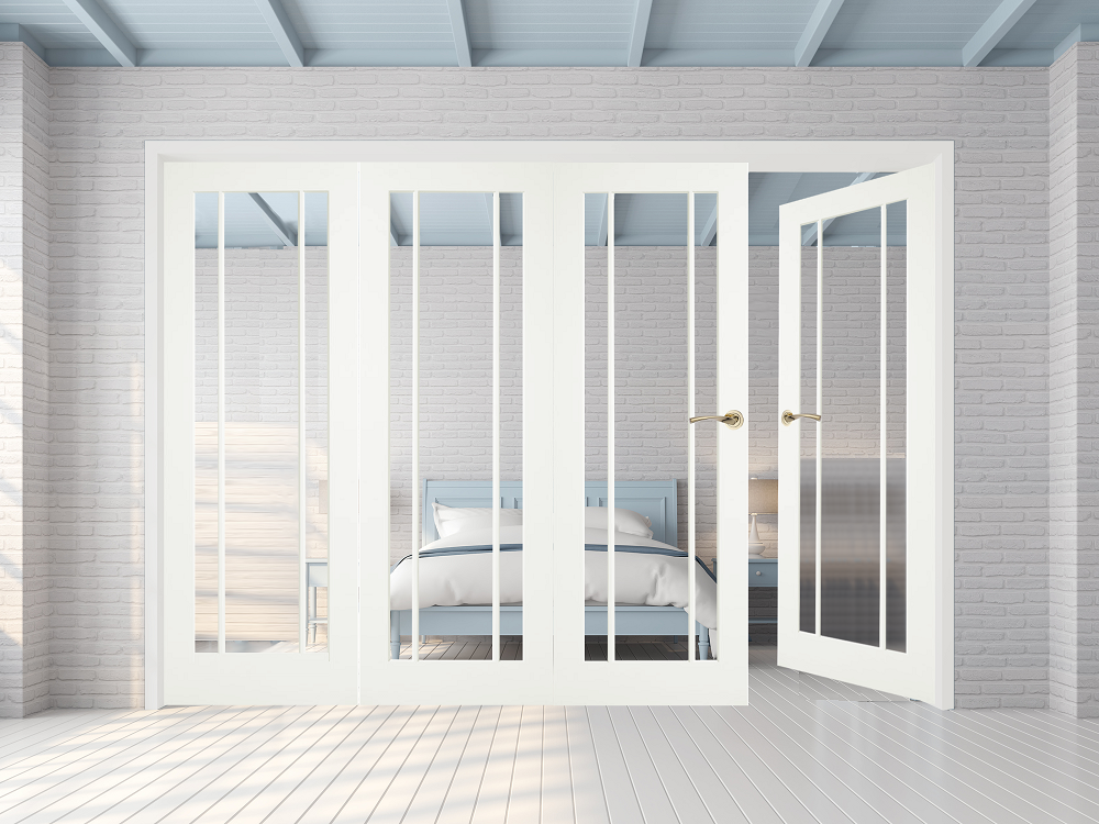 White Langdale Clear Glass Bifold 4 Door